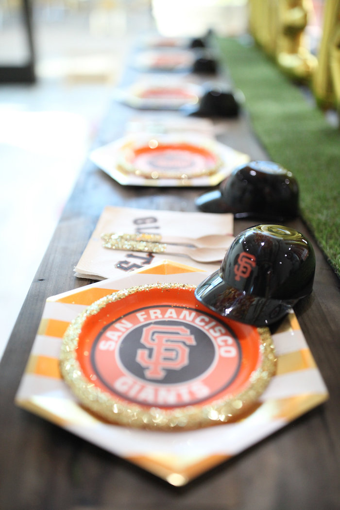 SF Giants Table Setting + Partyware from a San Francisco Giants Baseball Birthday Party on Kara's Party Ideas | KarasPartyIdeas.com (9)
