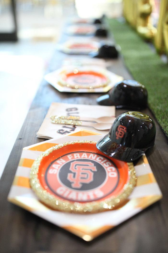 SF Giants Table Setting + Partyware from a San Francisco Giants Baseball Birthday Party on Kara's Party Ideas | KarasPartyIdeas.com (9)