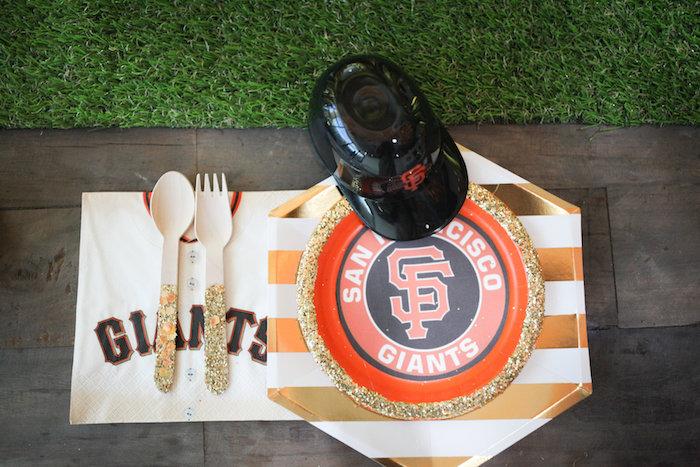 SF Giants Table Setting + Partyware from a San Francisco Giants Baseball Birthday Party on Kara's Party Ideas | KarasPartyIdeas.com (8)