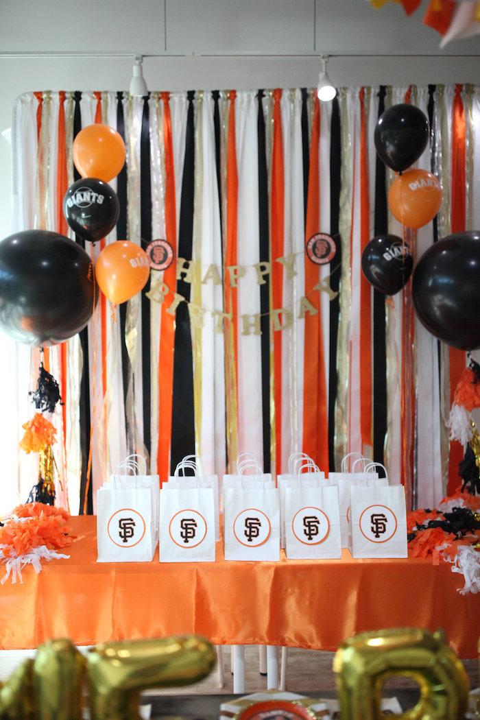 SF Giants-inspired Favor Table from a San Francisco Giants Baseball Birthday Party on Kara's Party Ideas | KarasPartyIdeas.com (7)