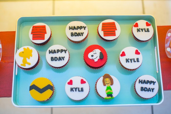Charlie Brown Cupcakes from a Snoopy Peanuts Birthday Party on Kara's Party Ideas | KarasPartyIdeas.com (16)