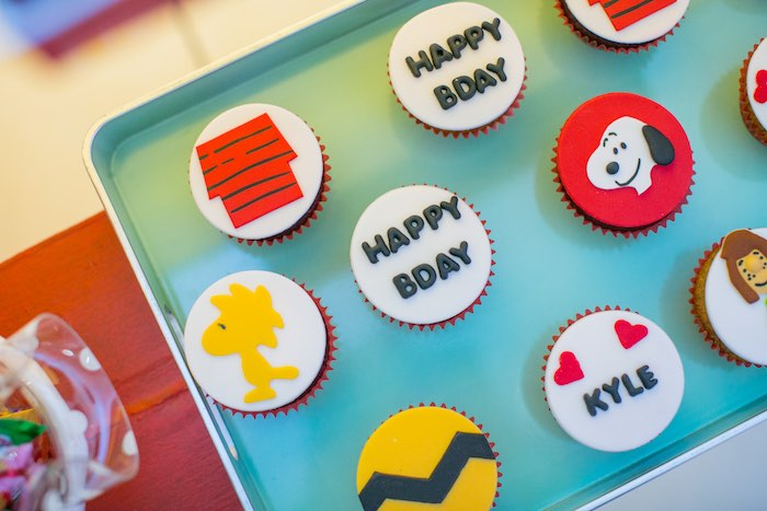 Charlie Brown Cupcakes from a Snoopy Peanuts Birthday Party on Kara's Party Ideas | KarasPartyIdeas.com (15)