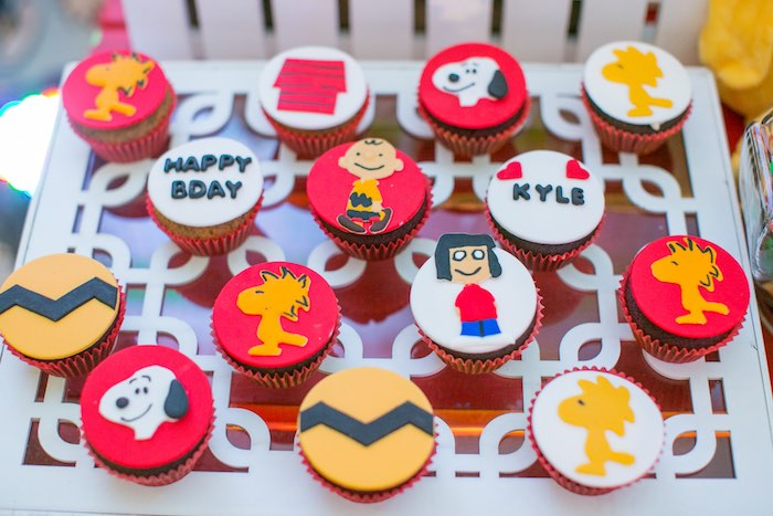 Charlie Brown Cupcakes from a Snoopy Peanuts Birthday Party on Kara's Party Ideas | KarasPartyIdeas.com (14)