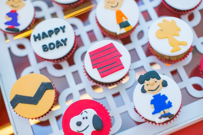 Charlie Brown + Peanuts Cupcakes from a Snoopy Peanuts Birthday Party on Kara's Party Ideas | KarasPartyIdeas.com (13)