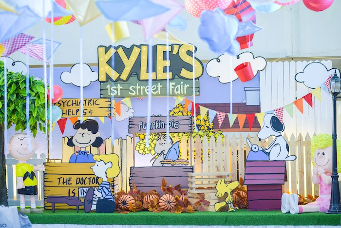 Charlie Brown Street Fair + Party Stage from a Snoopy Peanuts Birthday Party on Kara's Party Ideas | KarasPartyIdeas.com (30)