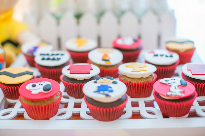 Peanuts-inspired Cupcakes from a Snoopy Peanuts Birthday Party on Kara's Party Ideas | KarasPartyIdeas.com (11)