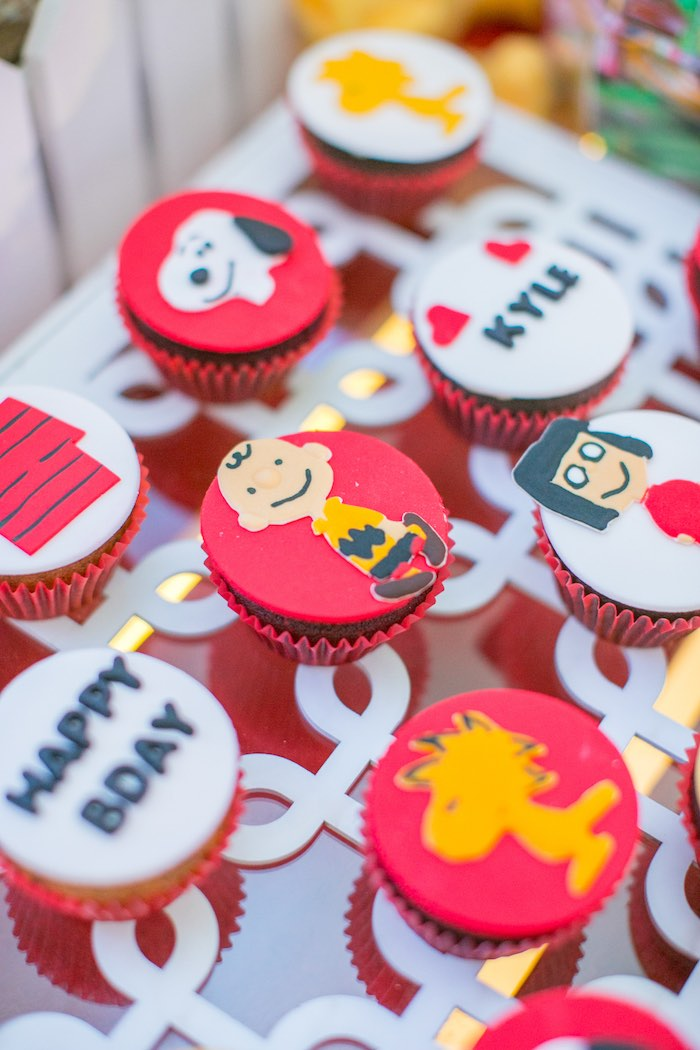 Peanuts-inspired Cupcakes from a Snoopy Peanuts Birthday Party on Kara's Party Ideas | KarasPartyIdeas.com (10)