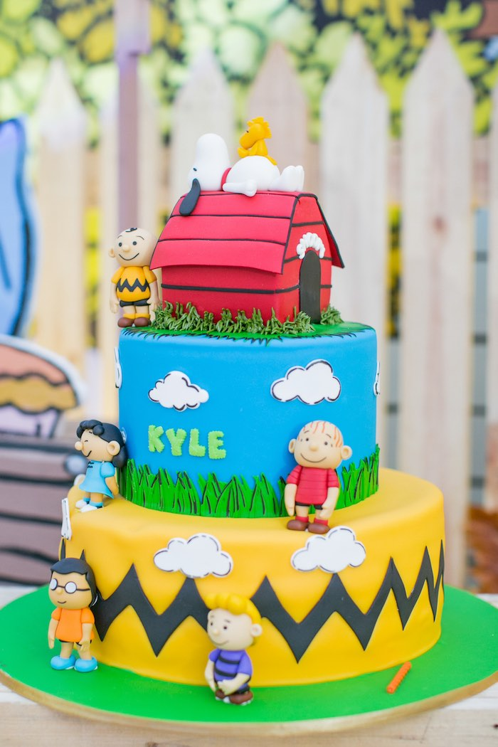 Charlie Brown Cake from a Snoopy Peanuts Birthday Party on Kara's Party Ideas | KarasPartyIdeas.com (8)