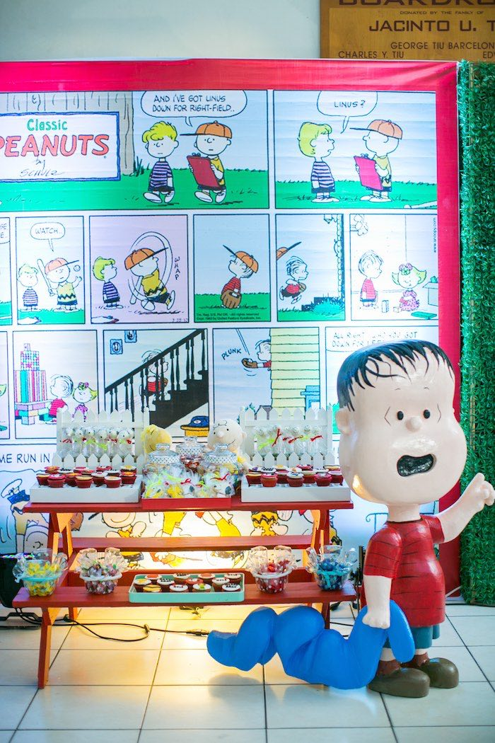 Charlie Brown Picnic Dessert Table from a Snoopy Peanuts Birthday Party on Kara's Party Ideas | KarasPartyIdeas.com (7)