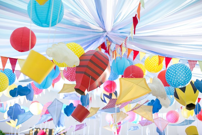 Charlie Brown-inspired Kite & Lantern Ceilingscape from a Snoopy Peanuts Birthday Party on Kara's Party Ideas | KarasPartyIdeas.com (29)