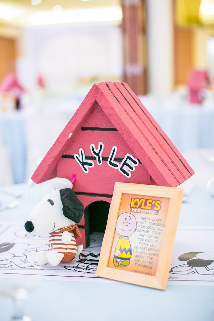 Snoopy Dog House Centerpiece from a Snoopy Peanuts Birthday Party on Kara's Party Ideas | KarasPartyIdeas.com (27)