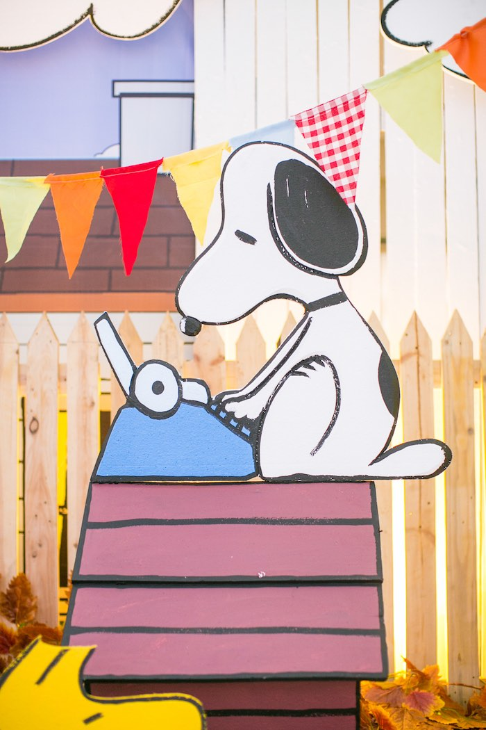 Snoopy Dog House Standee from a Snoopy Peanuts Birthday Party on Kara's Party Ideas | KarasPartyIdeas.com (23)