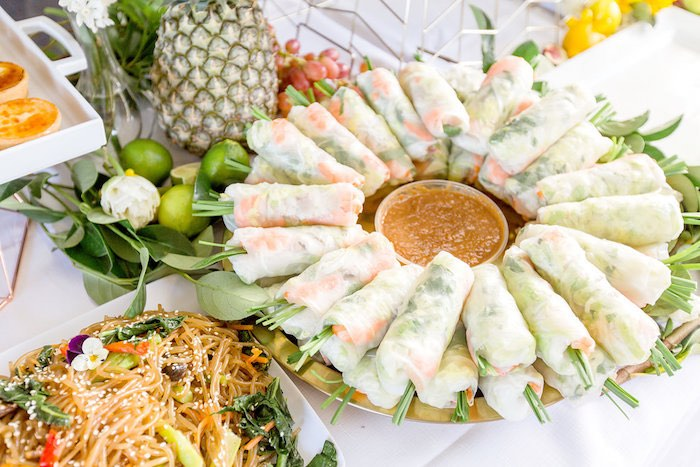 Rice Wrap Rolls from a Summer Garden Baby Shower on Kara's Party Ideas | KarasPartyIdeas.com (38)