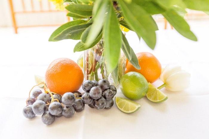Fresh Fruit Table Centerpiece from a Summer Garden Baby Shower on Kara's Party Ideas | KarasPartyIdeas.com (55)