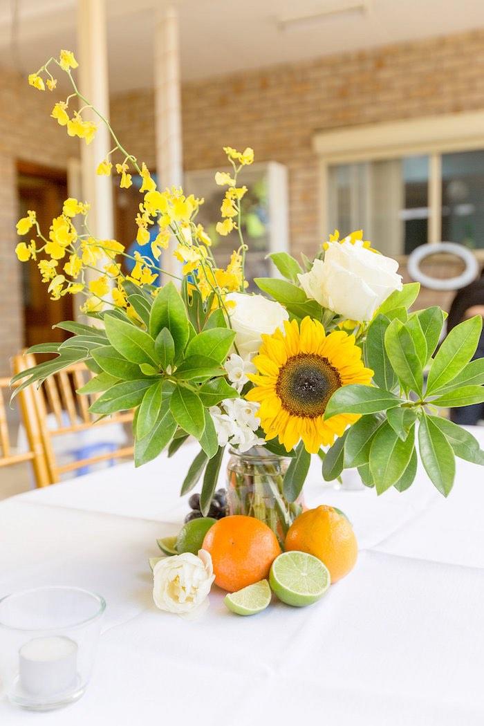 Summer Sunflower + Fruit Table Centerpiece from a Summer Garden Baby Shower on Kara's Party Ideas | KarasPartyIdeas.com (54)