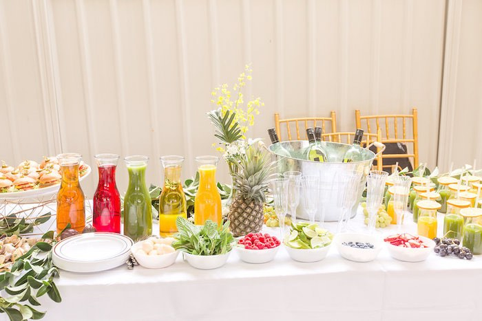 Summer Party Beverage Bar from a Summer Garden Baby Shower on Kara's Party Ideas | KarasPartyIdeas.com (21)