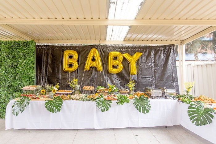 """Baby"" Food + Sweet Party Table from a Summer Garden Baby Shower on Kara's Party Ideas 