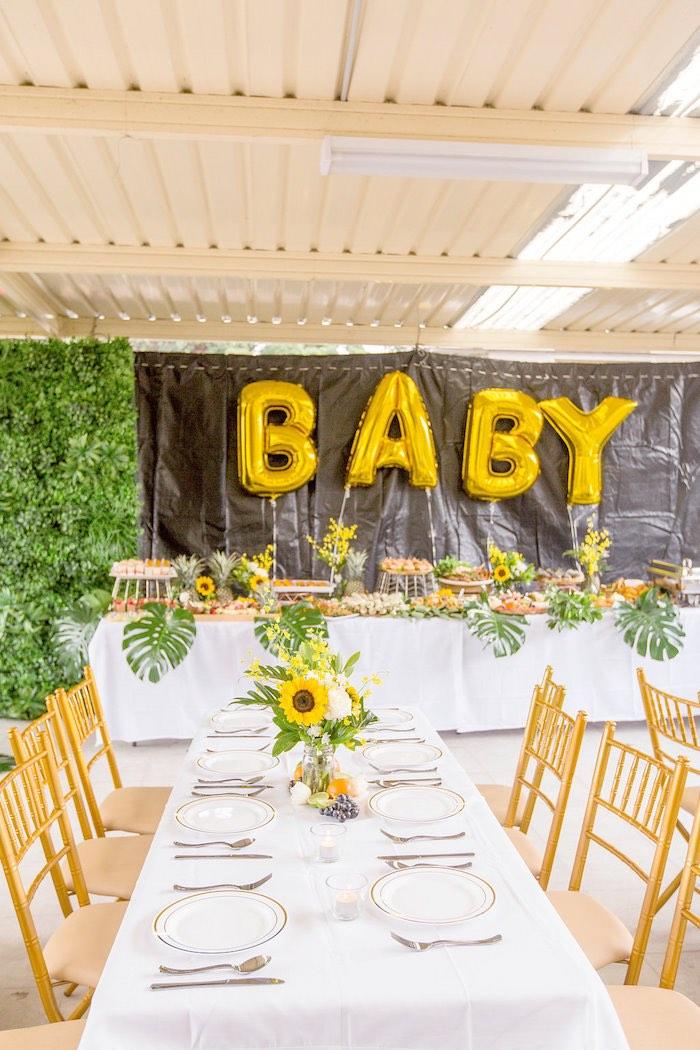 Sunflower Party Tables from a Summer Garden Baby Shower on Kara's Party Ideas | KarasPartyIdeas.com (18)