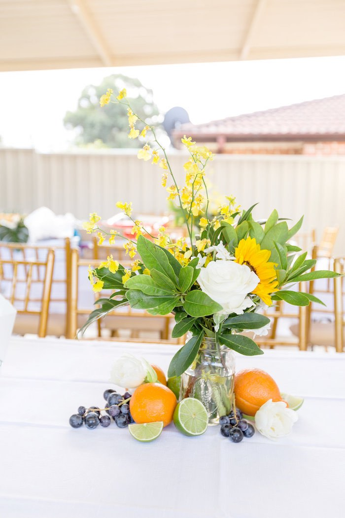 Summer Sunflower + Fruit Table Centerpiece from a Summer Garden Baby Shower on Kara's Party Ideas | KarasPartyIdeas.com (53)