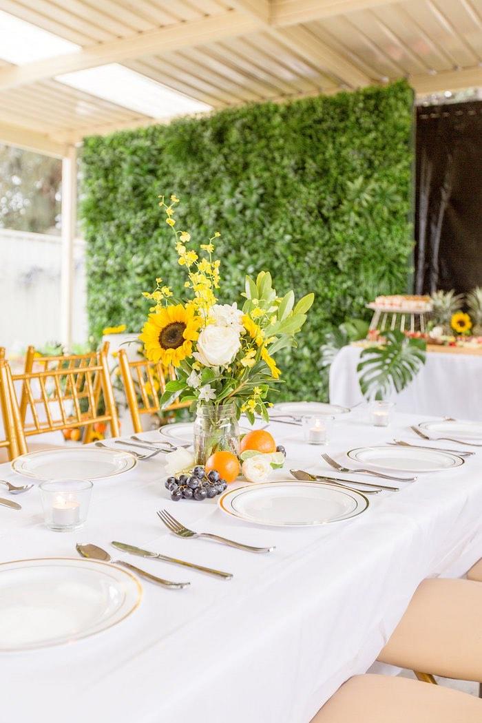 Summer Sunflower Guest Table from a Summer Garden Baby Shower on Kara's Party Ideas | KarasPartyIdeas.com (16)
