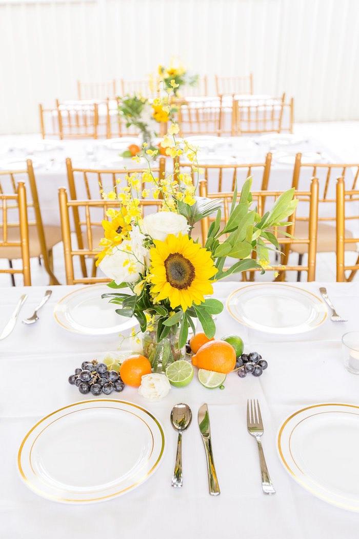 Summer Sunflower + Fruit Table Centerpiece from a Summer Garden Baby Shower on Kara's Party Ideas | KarasPartyIdeas.com (15)
