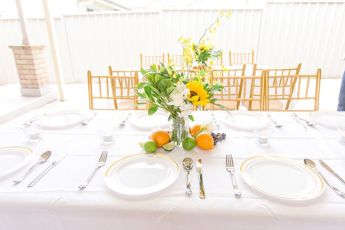 Summer Sunflower Guest Table from a Summer Garden Baby Shower on Kara's Party Ideas | KarasPartyIdeas.com (13)