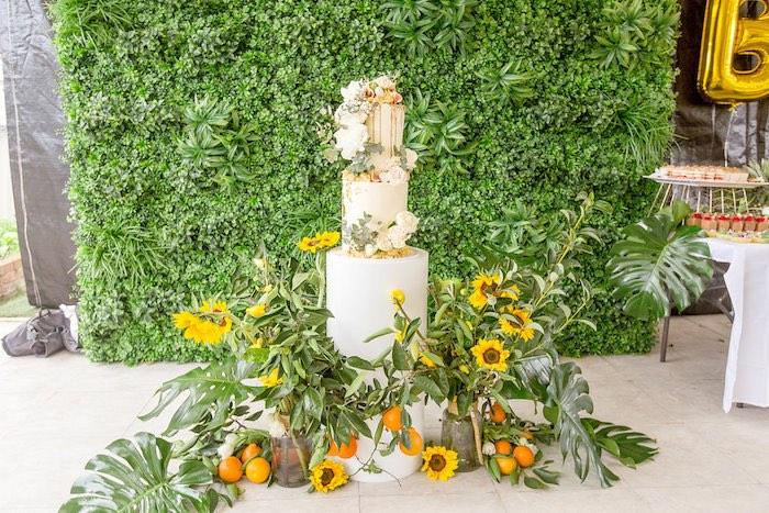Sunflower Cake from a Summer Garden Baby Shower on Kara's Party Ideas | KarasPartyIdeas.com (12)