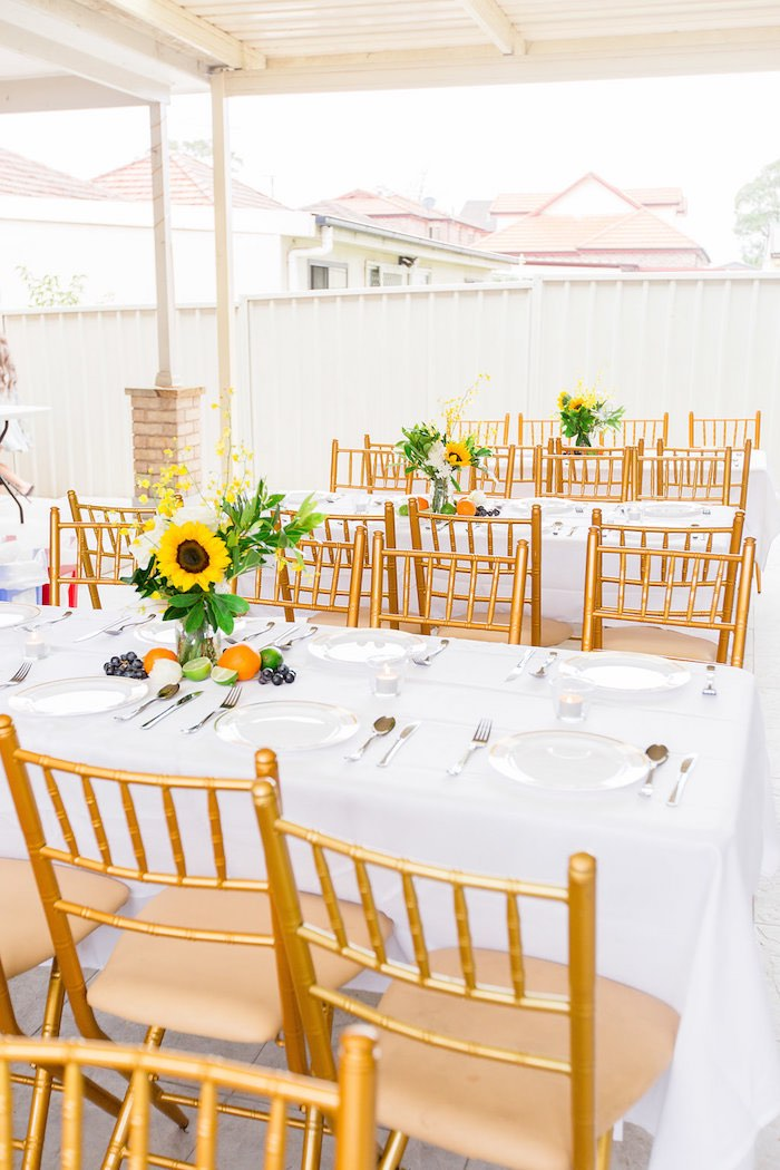 Sunflower Guest Table from a Summer Garden Baby Shower on Kara's Party Ideas | KarasPartyIdeas.com (10)