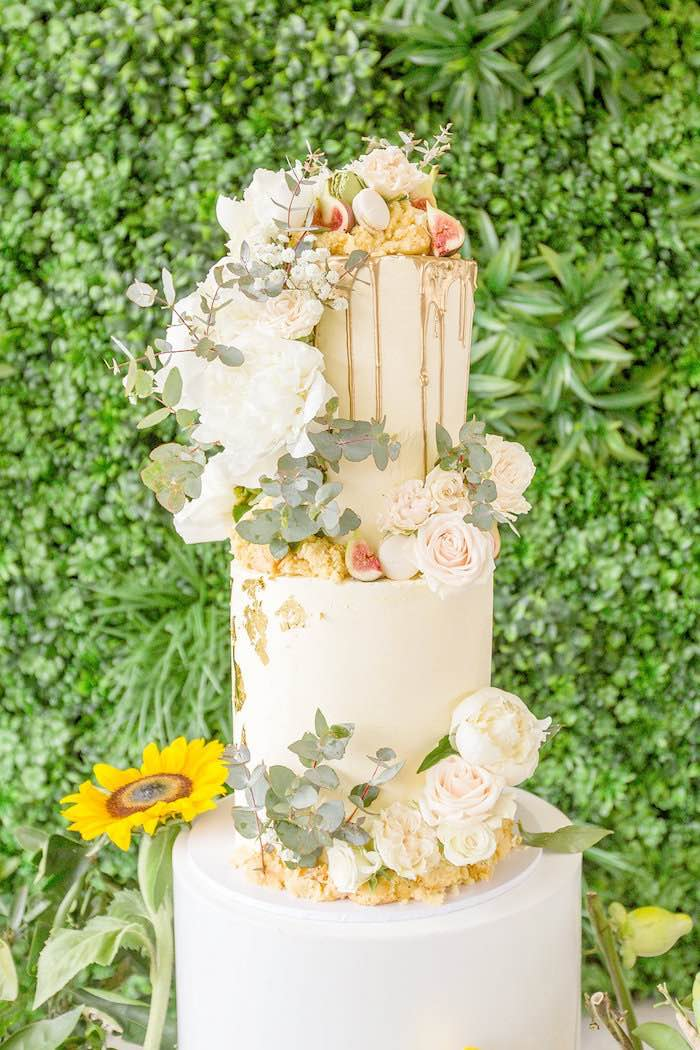 Gorgeous White Floral + Greenery Cake from a Summer Garden Baby Shower on Kara's Party Ideas | KarasPartyIdeas.com (9)
