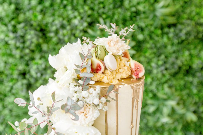 Floral + Sweet-covered Cake Top from a Summer Garden Baby Shower on Kara's Party Ideas | KarasPartyIdeas.com (7)