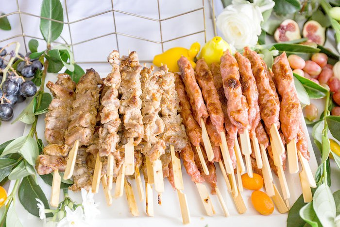 Meat Skewers from a Summer Garden Baby Shower on Kara's Party Ideas | KarasPartyIdeas.com (52)