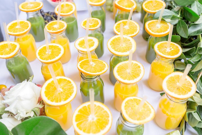 Orange Slice-topped Drinks from a Summer Garden Baby Shower on Kara's Party Ideas | KarasPartyIdeas.com (47)