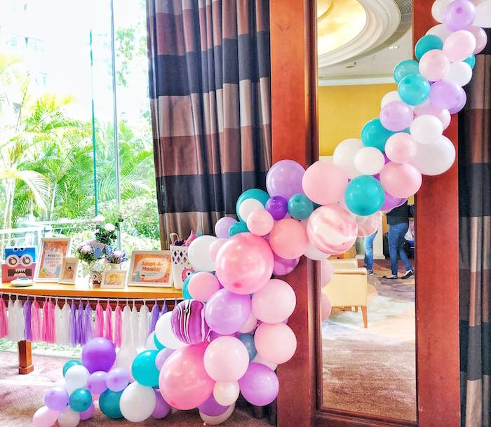 Balloon Garland + Party Table from a Sweet Monster Bash on Kara's Party Ideas | KarasPartyIdeas.com (18)