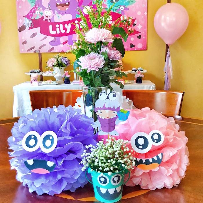 Monster Tissue Ball Centerpiece from a Sweet Monster Bash on Kara's Party Ideas | KarasPartyIdeas.com (15)