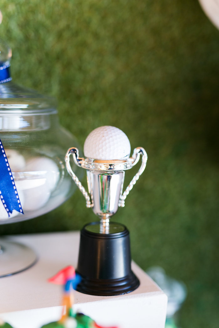 Golf Ball-topped Trophy from a Tee-riffic Golf Birthday Party on Kara's Party Ideas | KarasPartyIdeas.com (10)