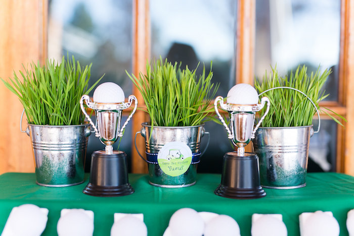 Grass Bucket Centerpieces + Trophy Pedestal from a Tee-riffic Golf Birthday Party on Kara's Party Ideas | KarasPartyIdeas.com (4)