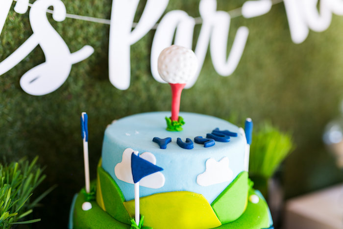 Teed Golf Ball Cake Topper from a Tee-riffic Golf Birthday Party on Kara's Party Ideas | KarasPartyIdeas.com (23)