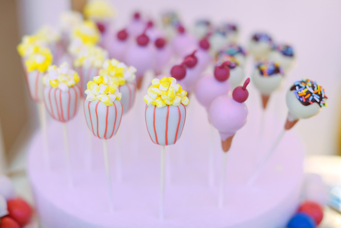 Popcorn Tub Cake Pops from The Greatest Showman Birthday Party on Kara's Party Ideas | KarasPartyIdeas.com (27)