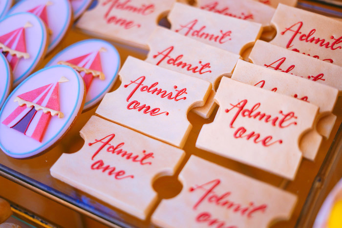Admit One Ticket Cookies from The Greatest Showman Birthday Party on Kara's Party Ideas | KarasPartyIdeas.com (17)