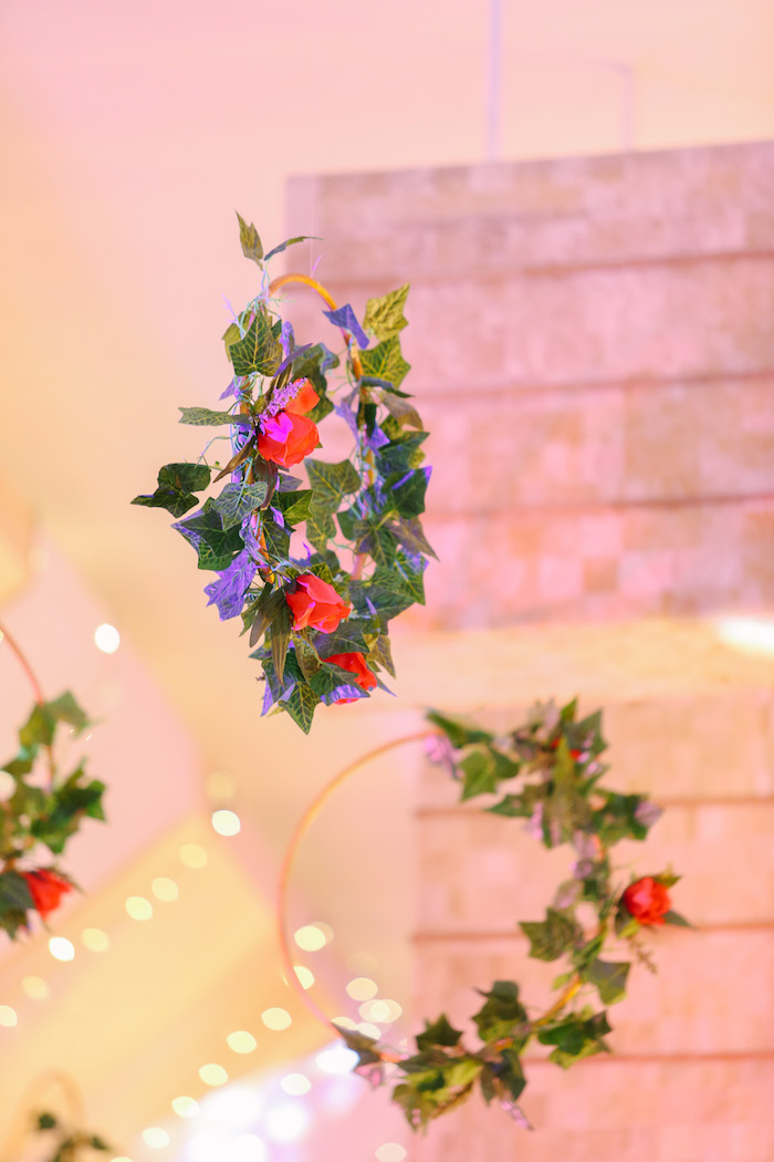 Floral Hoop Chandeliers from The Greatest Showman Birthday Party on Kara's Party Ideas | KarasPartyIdeas.com (11)