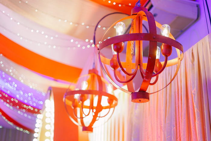 Red Edison Bulbed Chandeliers from The Greatest Showman Birthday Party on Kara's Party Ideas | KarasPartyIdeas.com (10)