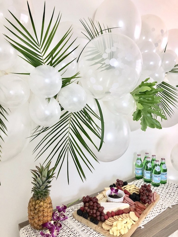 Tropical Leaf Balloon Installation from a Tropical Chic Charcuterie Table on Kara's Party Ideas | KarasPartyIdeas.com (11)