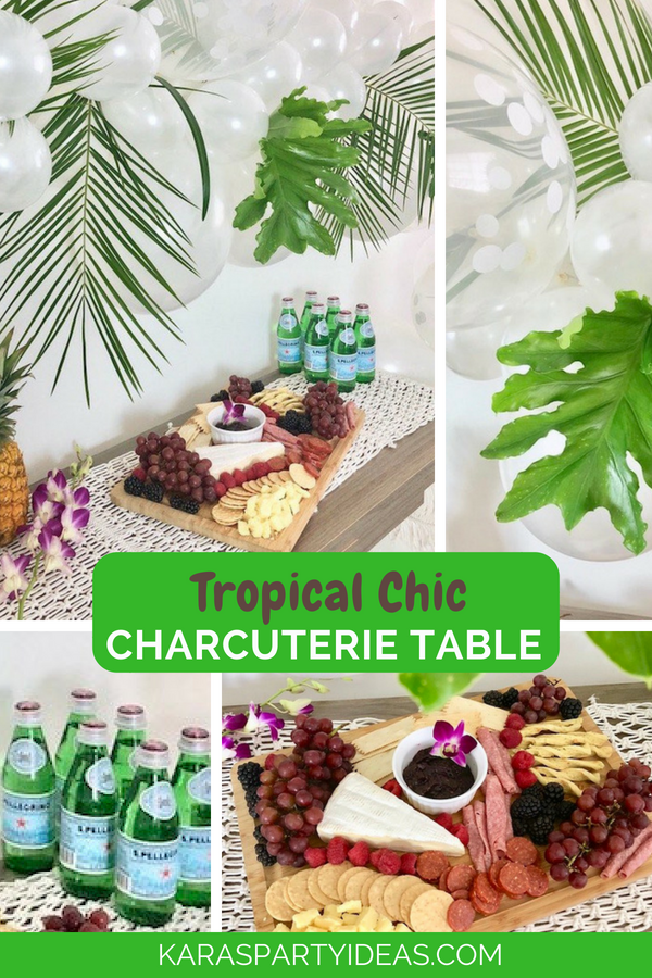 Tropical Chic Charcuterie Table via Kara's Party Ideas - KarasPartyIdeas.com