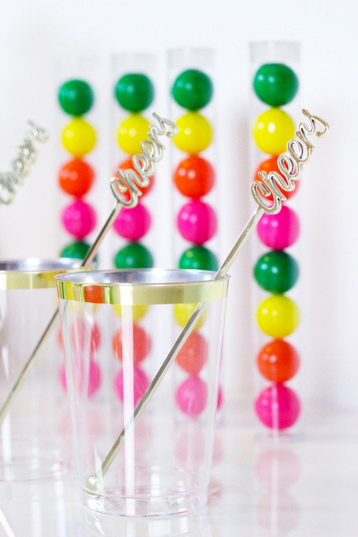 """Gold Rimmed Cups with """"Cheers"""" Drink Stirrers from a Tutti Frutti Summer Party on Kara's Party Ideas 