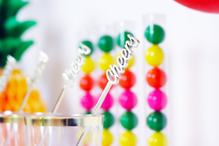 Cheers Drink Stirrer from a Tutti Frutti Summer Party on Kara's Party Ideas | KarasPartyIdeas.com (15)