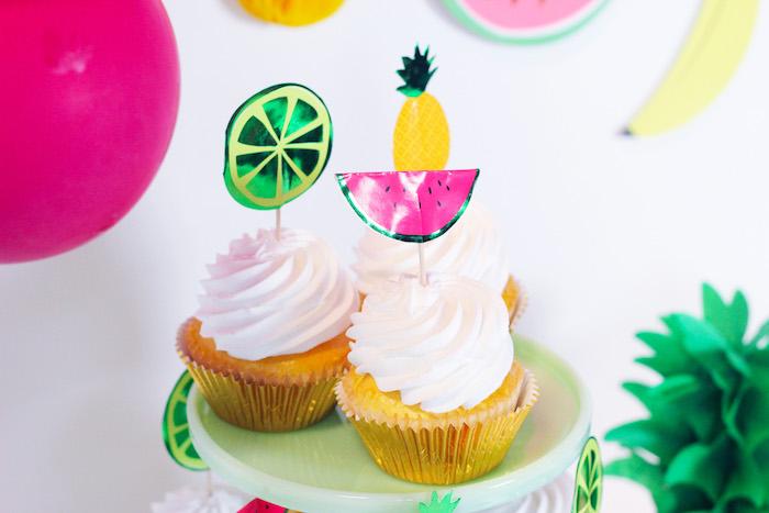 Tutti Frutti Cupcakes from a Tutti Frutti Summer Party on Kara's Party Ideas | KarasPartyIdeas.com (14)