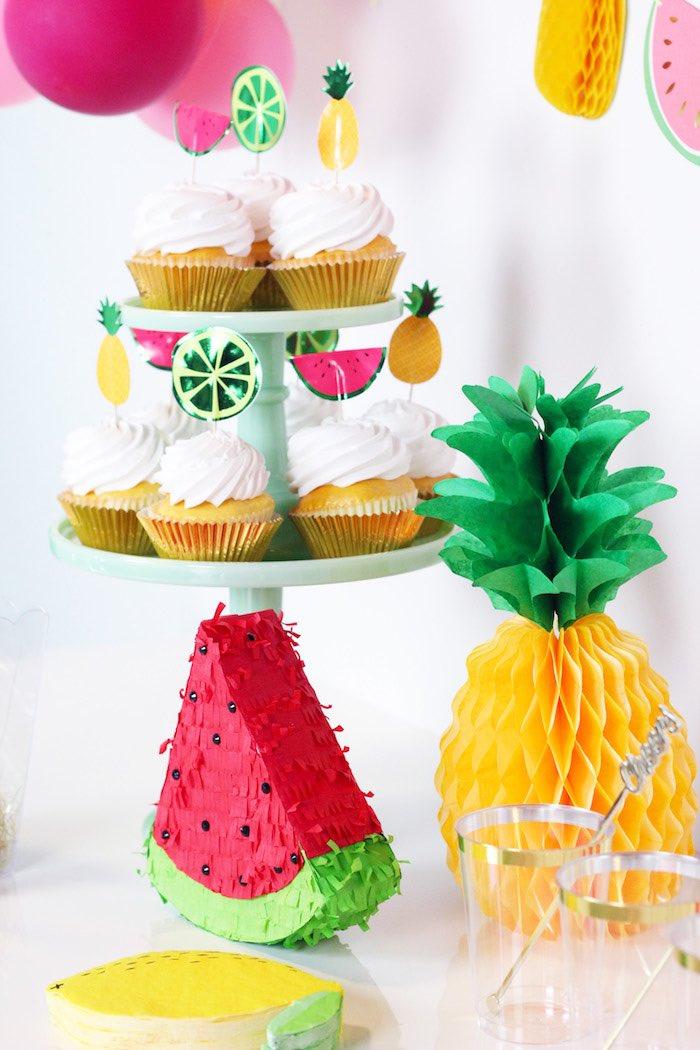 Fruit Cupcakes from a Tutti Frutti Summer Party on Kara's Party Ideas | KarasPartyIdeas.com (11)