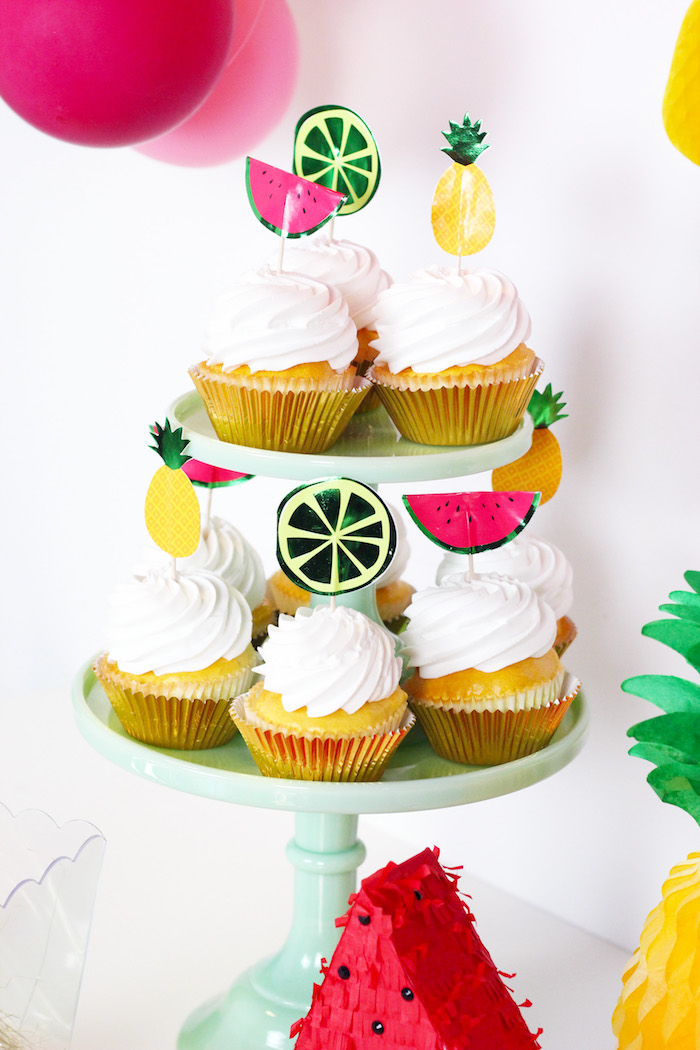 Fruit Topper Cupcakes from a Tutti Frutti Summer Party on Kara's Party Ideas | KarasPartyIdeas.com (8)