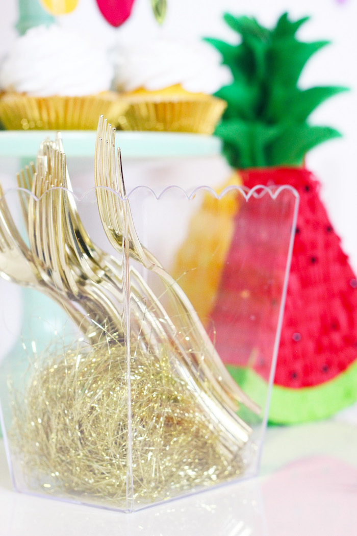 Gold Forks from a Tutti Frutti Summer Party on Kara's Party Ideas | KarasPartyIdeas.com (7)