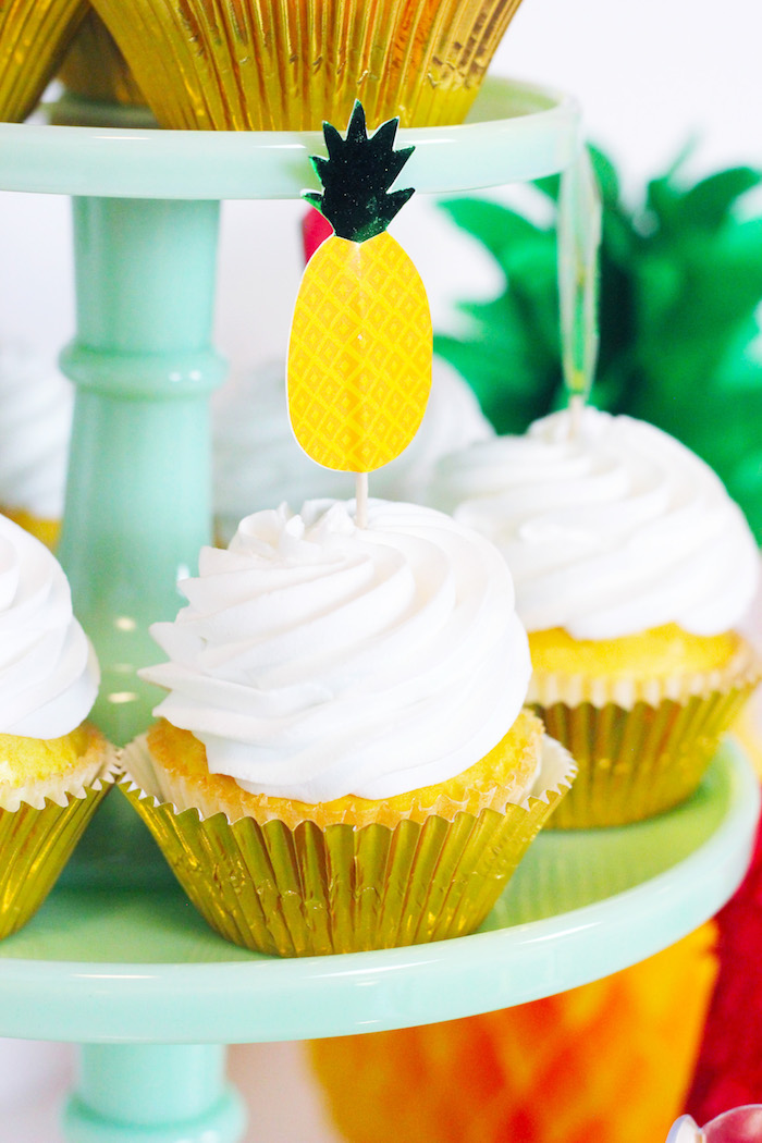 Pineapple Topper Cupcake from a Tutti Frutti Summer Party on Kara's Party Ideas | KarasPartyIdeas.com (6)